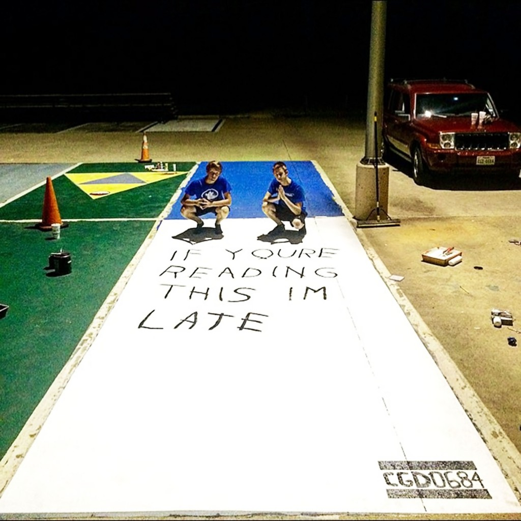 Seniors Nathan Labenz and Jacob Shipley came up with the parking spot idea that went viral. They finished painting it at midnight back in August.