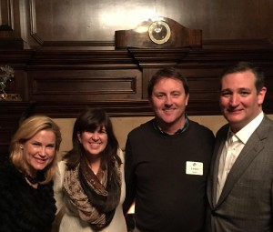 Lewis and Rachel Hogan (middle) met with Ted and Heidi Cruz and others at a prayer meeting in late December.