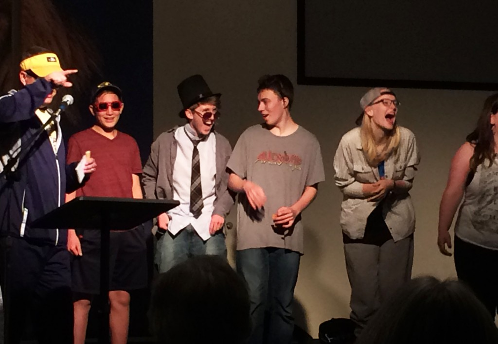 """Fez and the Awkwards"" Air band, organized by Maggie Bullington, Trey Garcia, Nate Gibbons, Addie Meier, Matthew Chapman and Sam Hall won Most Funny Award."