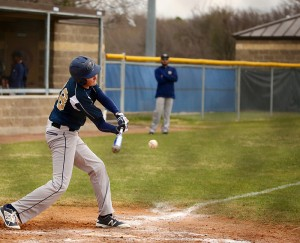 Senior Reid Matyastik bunts against Fort Worth Christian earlier this month. The team has played 8 games so far.