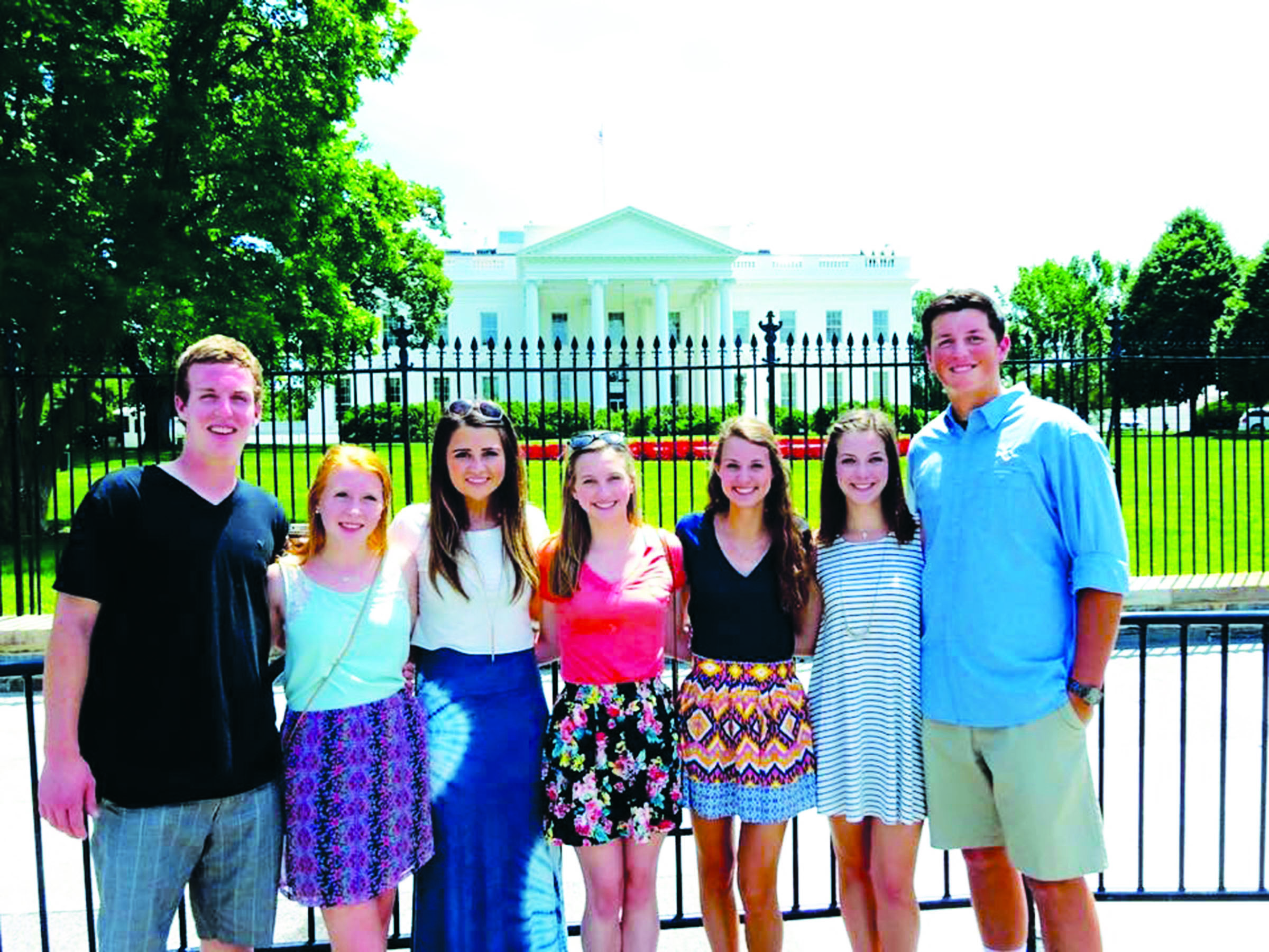 A group of seniors visit the White House and Washington D.C. last year as juniors.