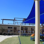 The playground and portable buildings are now in the shadow of the new building!