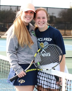 Seniors Macy Noe and Ellie Parker are two of four seniors on the tennis team this year.