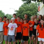 Back in 2012, the current senior class, pictured here with former classmate Ethan Tepera (white shirt) helped to organize a bone marrow drive for Ethan. Ethan is now healthy. Seniors saw prayers answered.