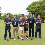 Varsity Golf team Left to right: Senior Matt Hudspeth, Freshman Grant Chelette, Sophomore Sierra Scala, Junior Chandley Baldwin, Seniors Jay Sedwick, and Trey Kirby and Coach Mike Helmer (in the back middle) said the team has a great foundation for next year.